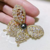 9-10mm  Luxury Genunie South Sea Black Pearl Brooch with Silver 925 Plated 18K Gold Butturfly Pin in yellow gold color