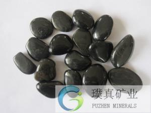 China Black polished beach cobbles/garden flooring stone on sale