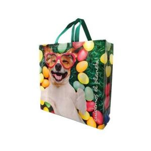 China Glossy PP Woven Laminated Tote Packaging Sewing Reusable Webbing Handle Gift Fashion Eco-Friendly Shopping Bag on sale