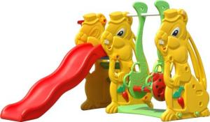 China Safety Plastic Baby Swing And Slide Set / Nontoxic KAIQI Recycled Plastic Playground on sale