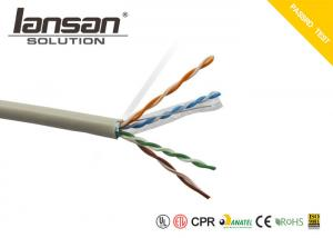 China Solid Bare Copper Lan Cable Cat5e 24AWG 305m/box 4Pair FTP PVC Customized Jacket on sale