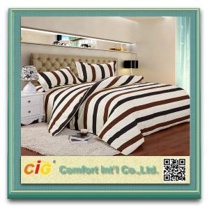 China Delicado branco/azul/vermelho luxuoso listrado das folhas de cama do algodão do poliéster cabido on sale
