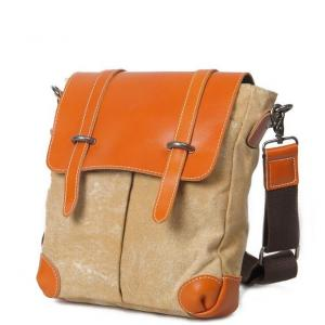 China Canvas Leather Shoulder Messenger Bags High Quality Men Women Hasp Cover Crossbody on sale