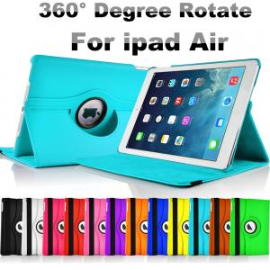 China Fashion Blue PU Leather Smart iPad Air Protective Cover with 360 Degree Rotating on sale