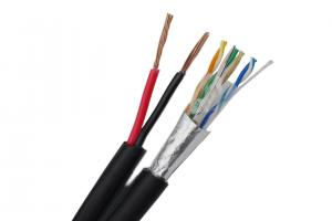 China FTP CAT5E 24 AWG Bare Copper with 2 x 1.50 mm2 Stranded CCA Power for IP Camera on sale