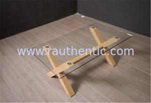China Tempered Glass Top Coffee Table And End Tables With Wooden Base Home Furniture on sale