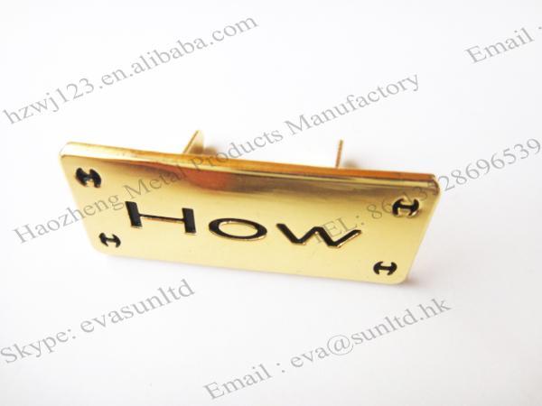 Gold Bag Hardware Custom Metal Label Logo For Handbag Images