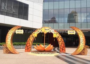China Custom Large Size Shopping Centre Decorations Orange Color Artificial Lotus Sculpture on sale