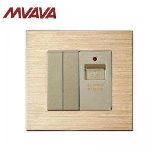 China MVAVA 2 Gang switch and USB Plug Socket Wall Outlet Gold Color Satin Aluminium Series Panel Factory Direct Sale on sale