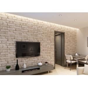 China Removable 3D Brick Effect Wallpaper , Embossed Faux Brick Wall Covering Washable on sale