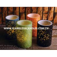 China Flameless 2 Layer Carved LED Pillar Candles , Safety Colorful Unique Design LED Candles on sale