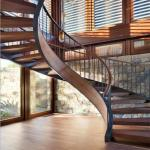 High safety unique design Curved stairs with stainless steel rod railing mono curved centre beam stair