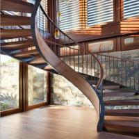 unique design mono curved stair beam wrought iron cuvred rod  balustrade stair open riser wood circular spiral staircase