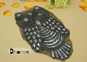 Owl design cord embroidered sequin appliques and trims for garment