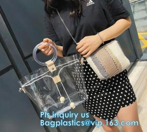 China handbag online pvc handbag for women, PVC tote handbag with a small purse, Thick PVC Women Unique Handbags, Bag Pouches on sale
