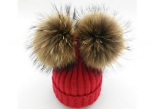 China Women Winter Knit Pom Pom Beanie Caps With Real Mink Fur Wool Material on sale