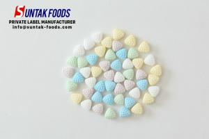 China 0.7g Fruit Flavor Sweet Breath Mints Textured Triangle Candy Shape on sale