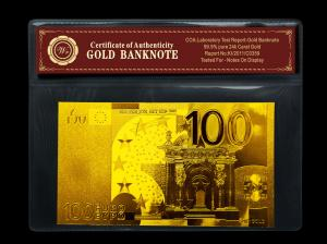 China Double Logo 100 EURO Foil 24k Gold Banknote With PVC Frame + COA on sale