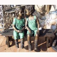 metal art deco kids busts antique bronze sculpture TPE-082