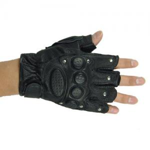 China Black Half Finger Tactical Gloves,High Quality Leather,Unique Non-Slip Palm on sale