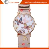 GV07 Butterfly Plate PU Leather Band Watches for Woman Stainless Steel Watch Quartz Watch