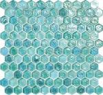 Hexagone en verre de ondulation de tuile de mosaïque de l'eau vert-bleu pour votre jardin