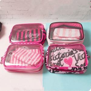 China Victoria's Secret 3pcs/set Cosmetic Bags Waterproof Portable Make Up Bag on sale