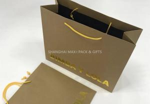Quality Company Logo Personalized Brown Gift Bags For Business Gold Hot-Stap Foil Logo for sale