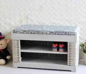 China Home Furniture Organizer Wooden Shoe Rack Hand-woven Sideboard on sale