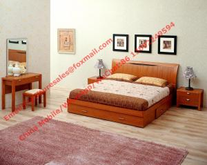 China Apartment Furniture suite by Lift mechanism storage bed in Cherry wooden bedroom set with Armchair and coffee table on sale