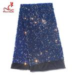SGS Laser Sequins Shinny Embroidered Lace Fabric With Elastic Mesh