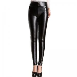 China fashion  high waist pu leather 3 design-choice black leggings leather women trousers on sale