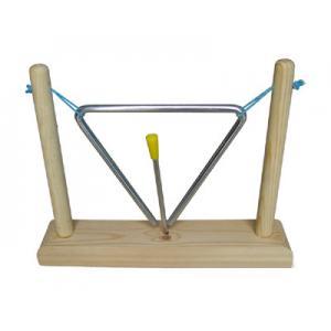 China Instrumento musical do brinquedo do triângulo do quadro do ferro com o brinquedo de madeira da percussão de madeira da mão do suporte on sale
