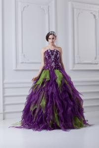 China New Fashion 2013 Women Quinceanera Party Dresses with Appliqued / Falbala on sale