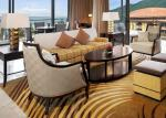 Sofa en bois fait sur commande de lobby d'hôtel de tissu réglé pour le centre de réception