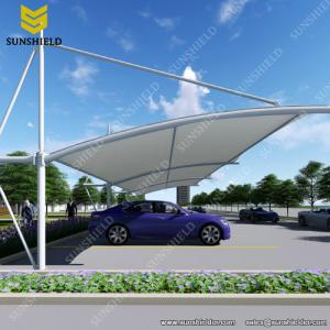 China Car Shed with Metal Framework and Fabric Top/fabric parking shade structure/membrane carport/Tensile Parking Shade on sale