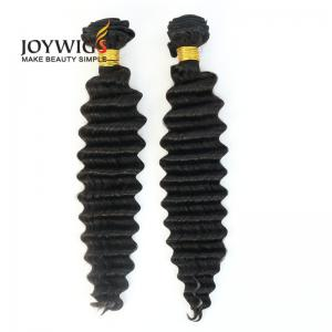 China Qingdao new arrival 10A grade natural color deep wave raw virgin Brazilian human hair extensions weft on sale