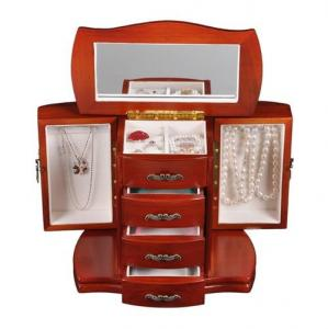 China Large wooden jewelry cabinet for earring, necklace, ring, pendants and gifts packaging box on sale