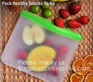 China Eco friendly Zipper Leakproof Freezer Bag Washable Reusable PEVA Sandwich Snacks Storage Bags For Fruits Vegetables Lunc on sale