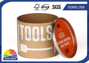 China Custom Kraft Paper Tube Round Paper Packaging Can with Metal Tin Lid / Base OEM on sale