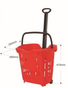 China Plastic Grocery Wheel Shopping Basket  / Custom Color Rolling Laundry Basket 40 Litres on sale
