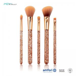 China Glitter Rose Gold Ferrule Makeup Brush Gift Set 5pcs for Eyeliner Eyeshadow on sale