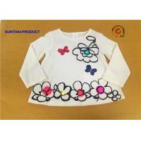 Big Floral Print Children T Shirt Butterfly Applique Embroidery Long Sleeve 100% Cotton