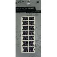 China 2D Portable Geometrical Pattern Black French Rhinestone Nail Stickers With Nontoxic Ink on sale