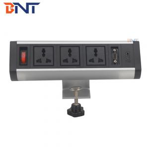 China supply bracket with universal power plug for office room movable clamp on table socket on sale