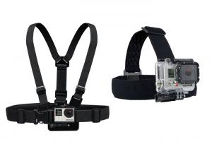 China Black Gopro Chest Mount Band , Action Camera Head Strap For Sports Camera on sale