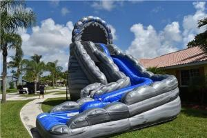 China Commercial Blue Huge Inflatable Slides Logo Printing Wild Rapids 24ft Dual Lane Slide With Pool on sale