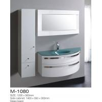 Storage Space Side MDF Bathroom Cabinets Shinning Chrome Handles Oversized