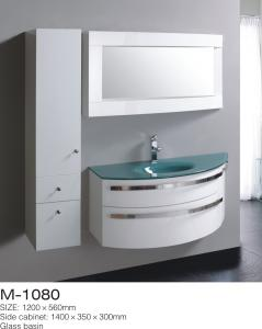 China Storage Space Side MDF Bathroom Cabinets Shinning Chrome Handles Oversized on sale