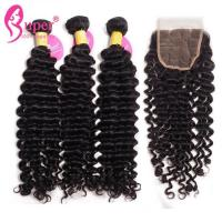 Deep Wave 3 Bundles Of Brazilian Hair Remy Human Wet Wavy Hair Weave 100% Virgin